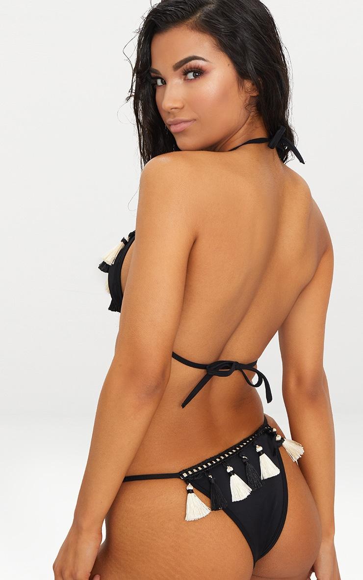 Black Tassel Trim High Waisted Itsy Bikini Bottom  1
