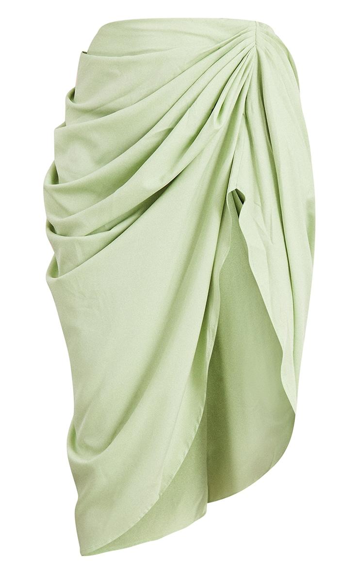 Sage Ruched Side Midi Skirt 5