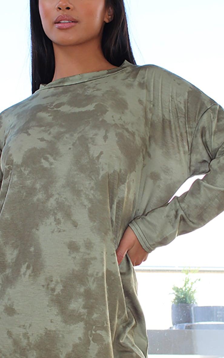 Petite Khaki Tie Dye Long Sleeve Oversized T-Shirt Dress 4
