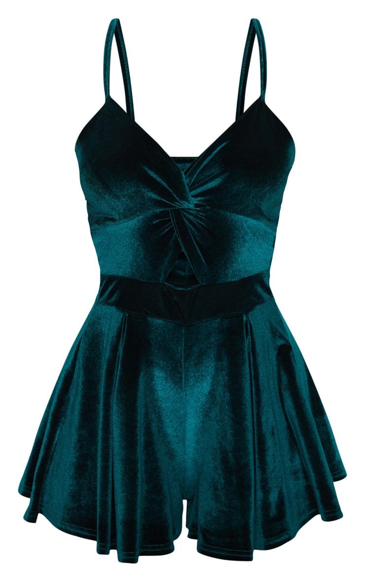 Emerald Velvet Strappy Twist Romper 3