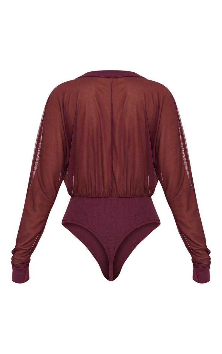 Yulia body-string en jersey à décolleté plongeant en tulle lie de vin 4