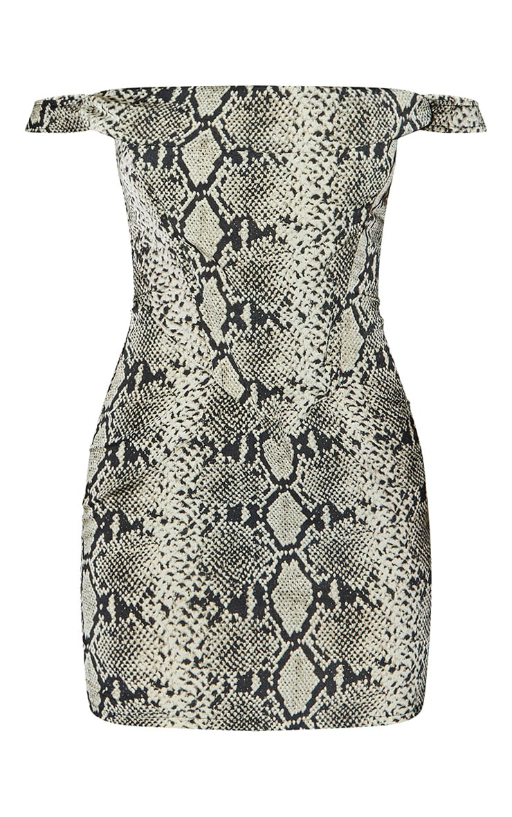 Brown Woven Snake Print Bardot Bodycon Dress 5