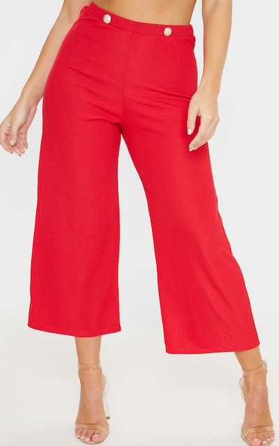 Red Button Detail Ribbed Culotte