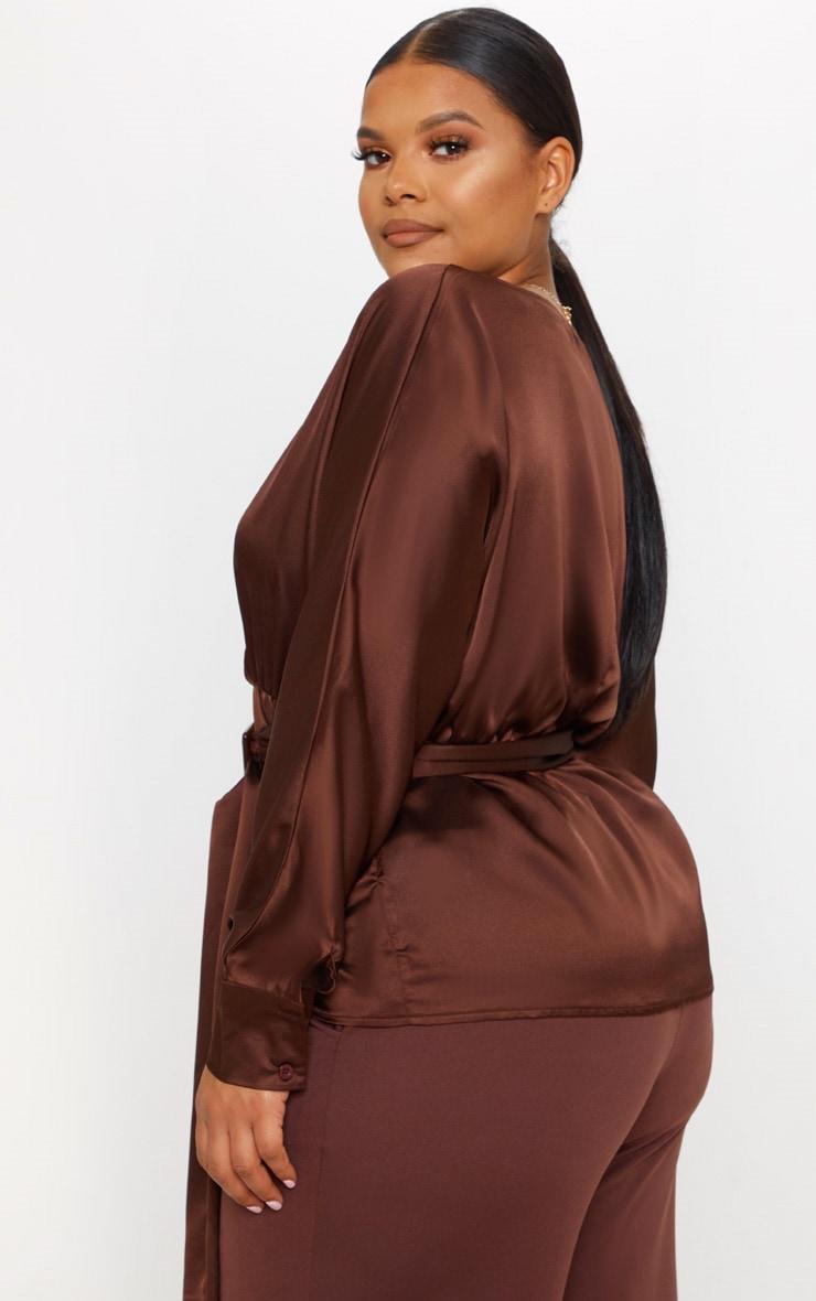 Plus Chocolate Brown Satin Belt Detail Blouse 2