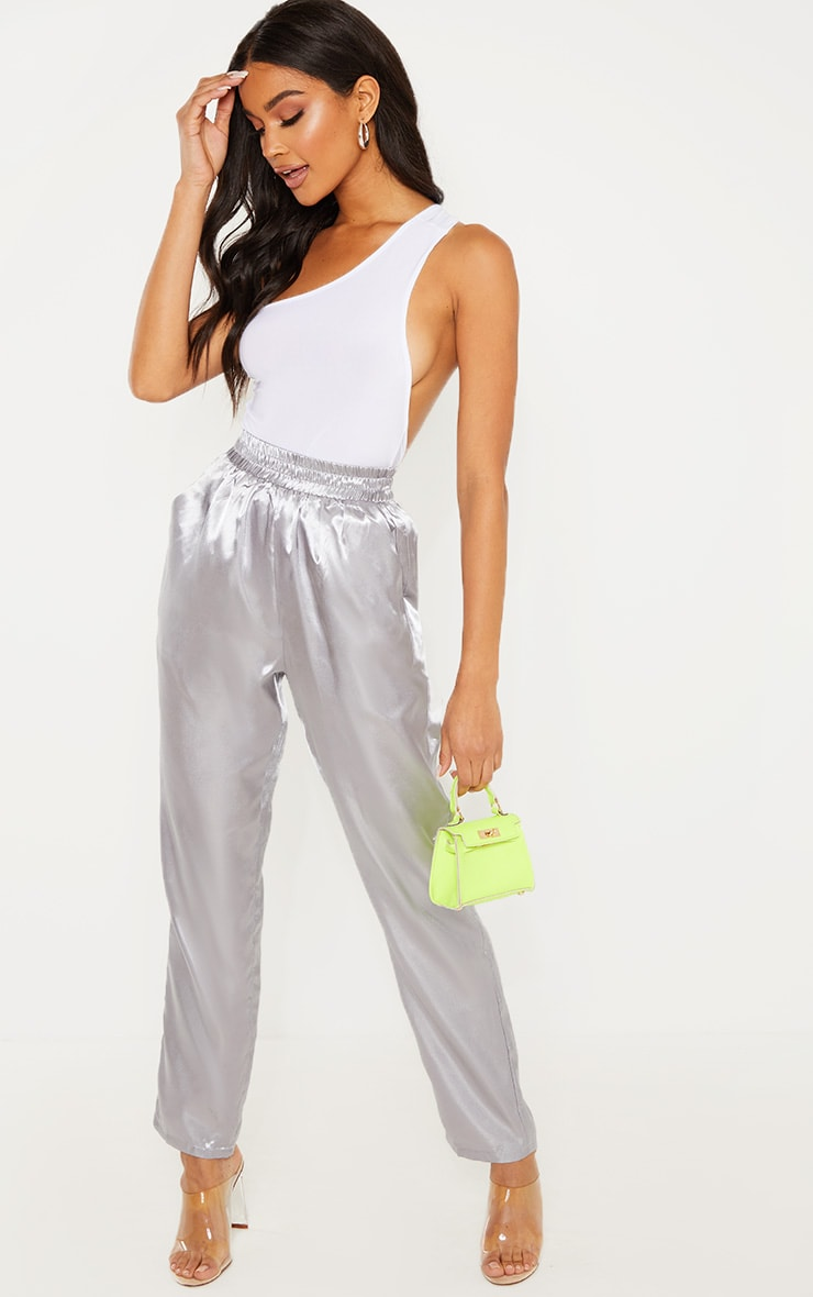 Silver Grey Satin Cigarette Casual Pants 1