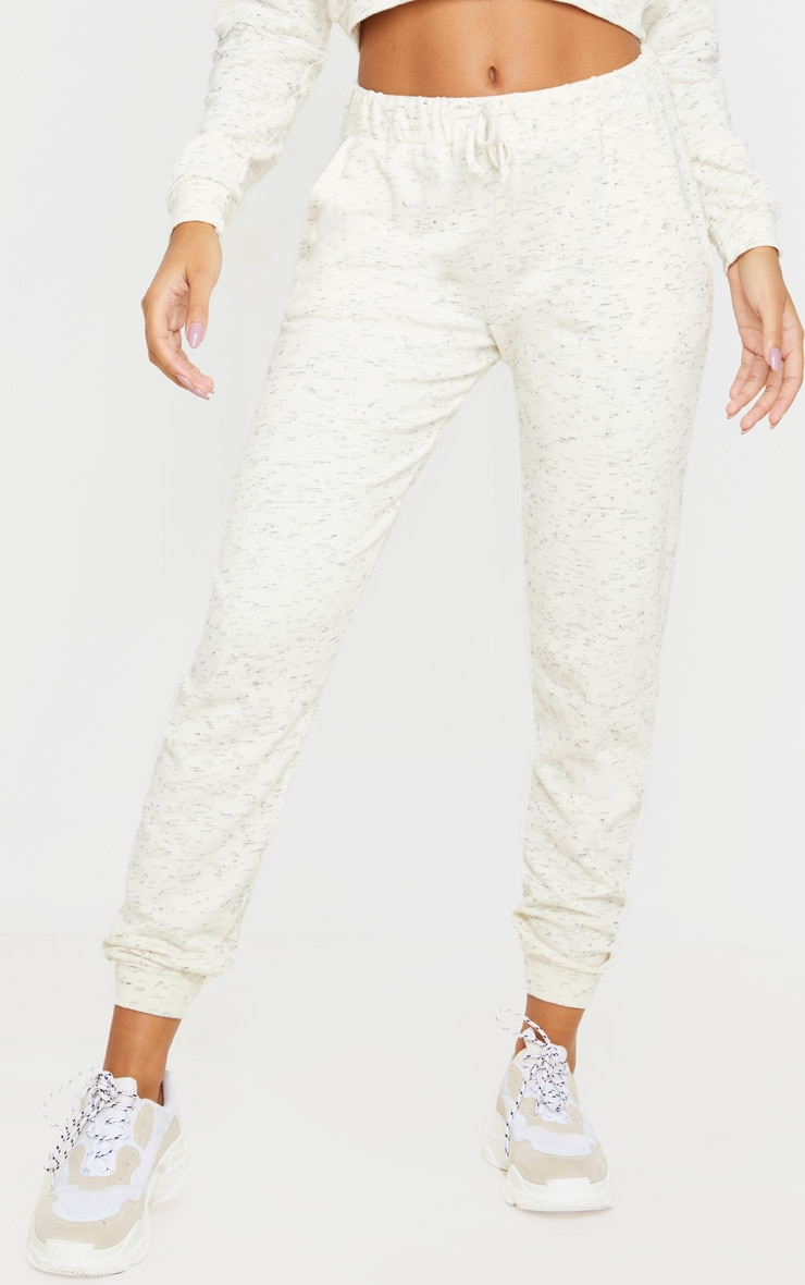 Cream Marl High Waisted Joggers 2