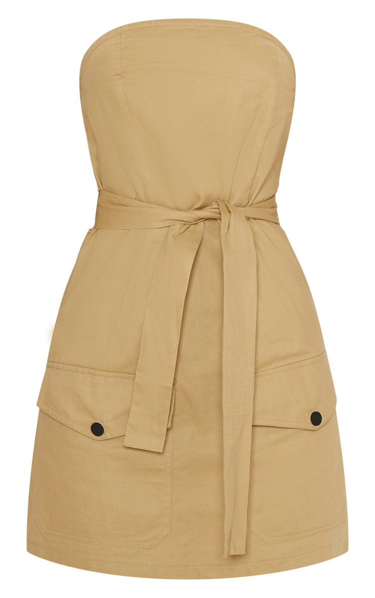Camel Bandeau Cargo Pocket Detail Bodycon Dress  3