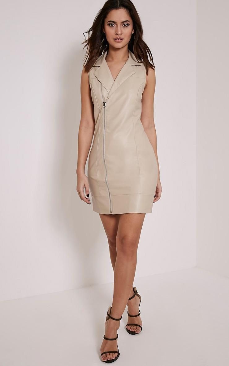 Chantal Nude Faux Leather Blazer Dress 5