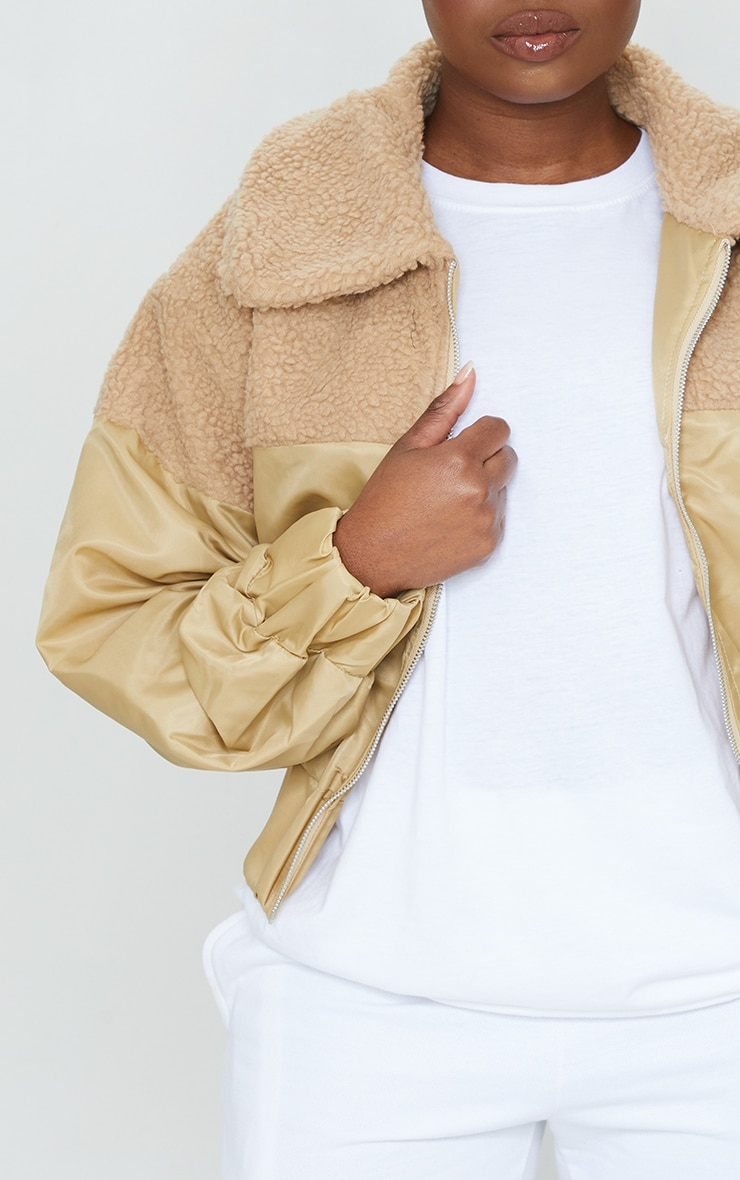 Petite Sand Borg Contrast Nylon Zip Through Jacket 4