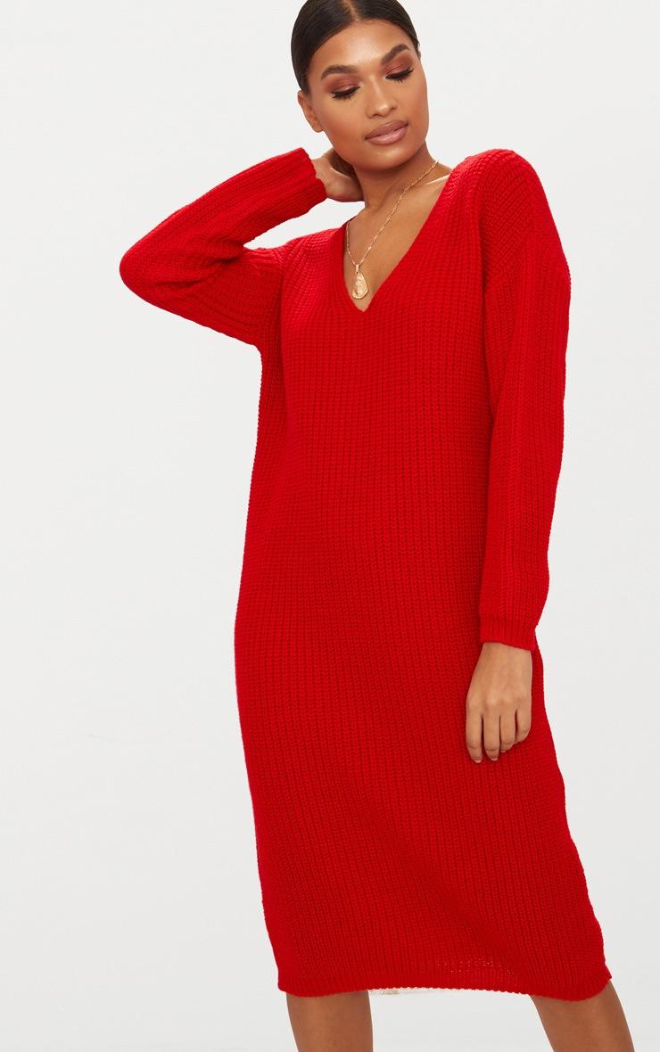 Red V-Neck Oversized Knitted Dress 5