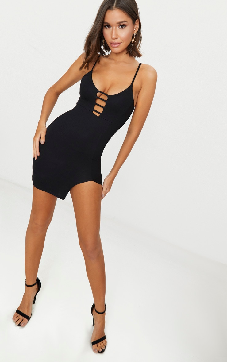 Black Strappy Plunge Split Detail Bodycon Dress 3