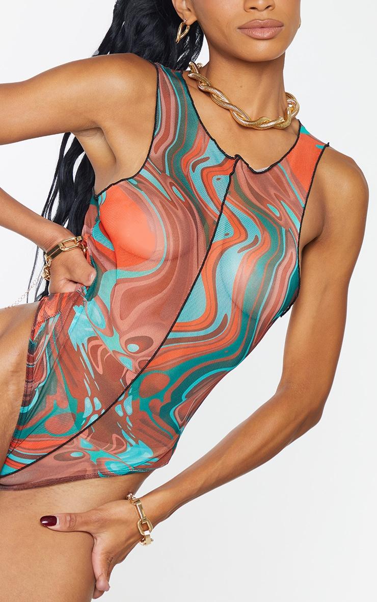 Burnt Orange  Abstract Marble Print Mesh Seam Detail Racer Bodysuit 4