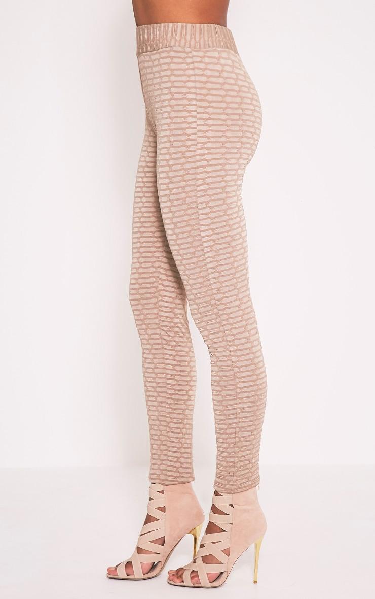Aleccia leggings taille haute gris pierre en maille gaufrée 5