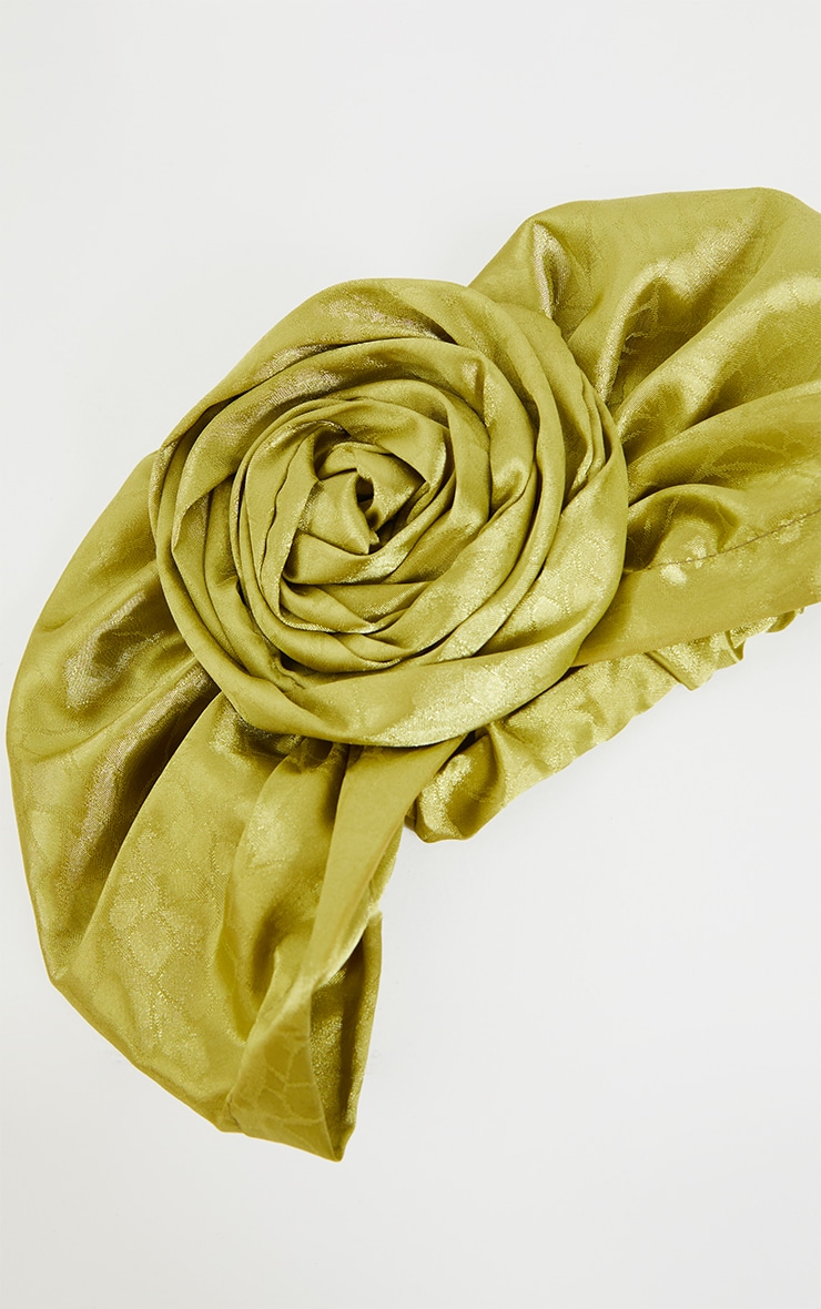 Sage Green Satin Jacquard Knot Front Head Scarf 3