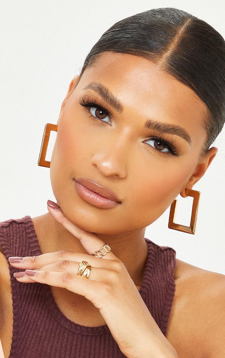 Gold 3 Pack Square Hoop Earrings 1