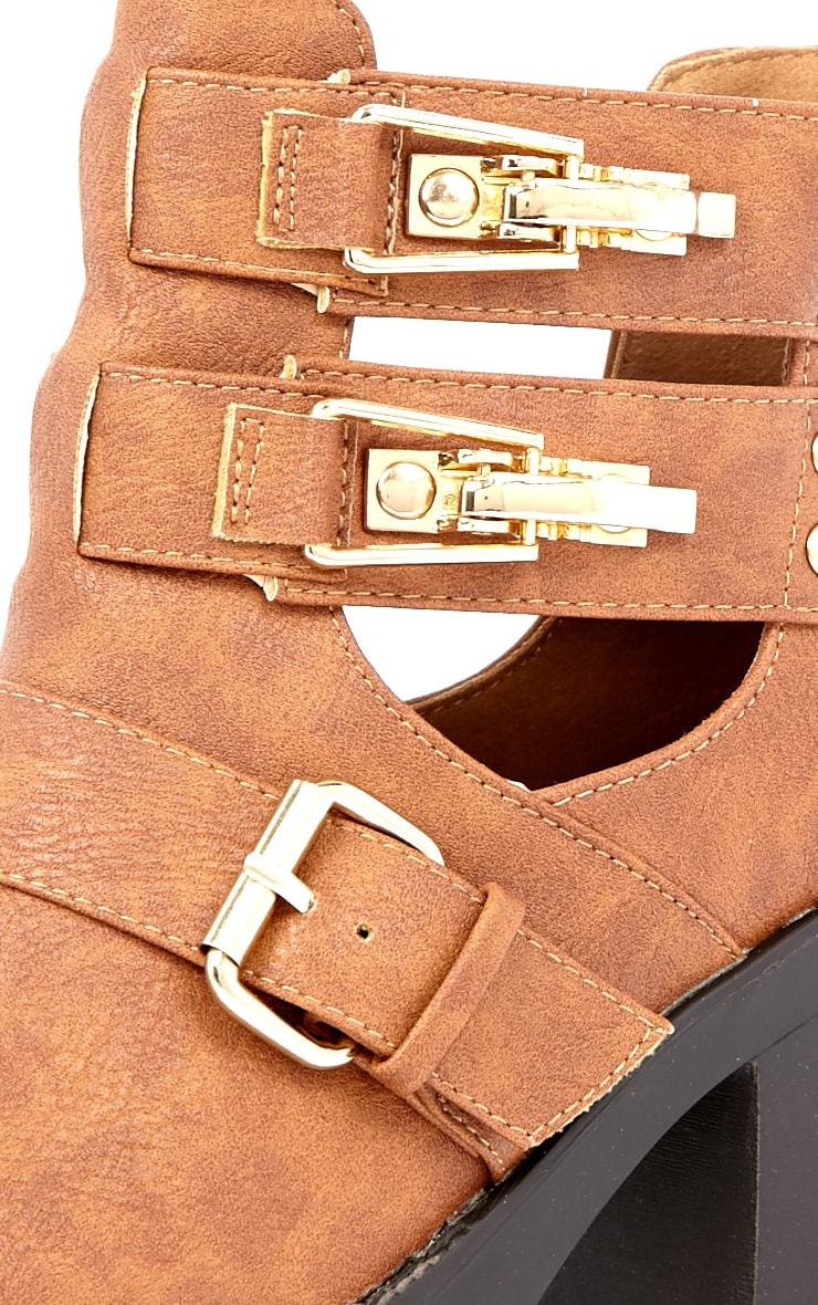 Jasmine Tan Leather Cut Out Chunky Buckle Boots 3