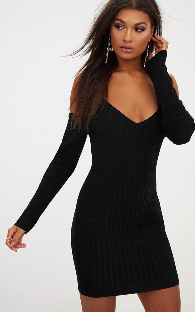 Black Cold Shoulder Knitted Mini Dress  1