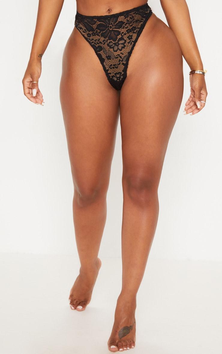 Shape Black Lace Thong 2