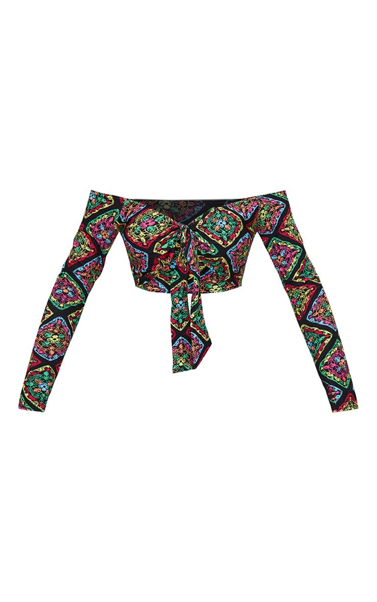 Multi Printed Crochet Tie Front Bardot Crop Top 3
