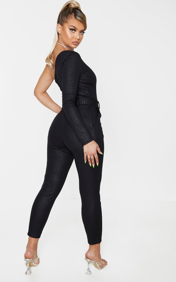 Black Textured Croc D Ring One Shoulder Jumpsuit 2