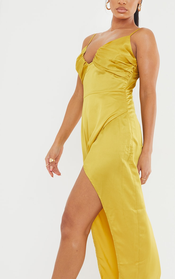 Chartreuse Ruched Bust Satin Maxi Dress 4