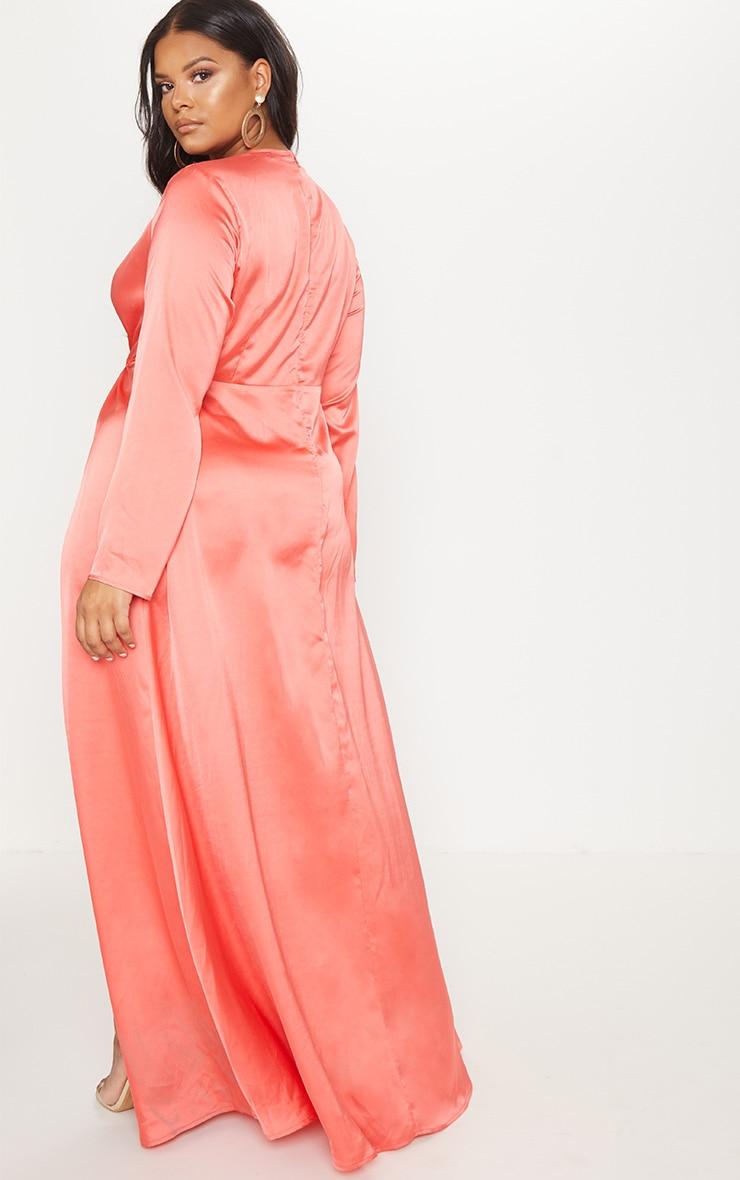 Plus Coral Twist Front Maxi Dress 2