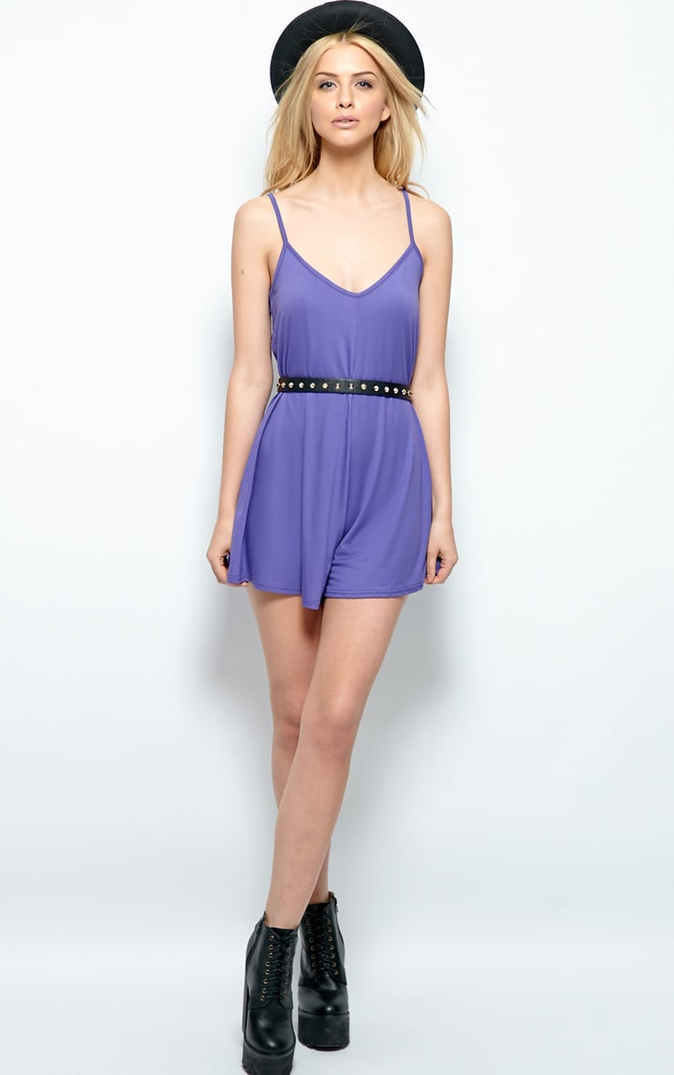 Isabel Purple Strappy Swing Playsuit 3