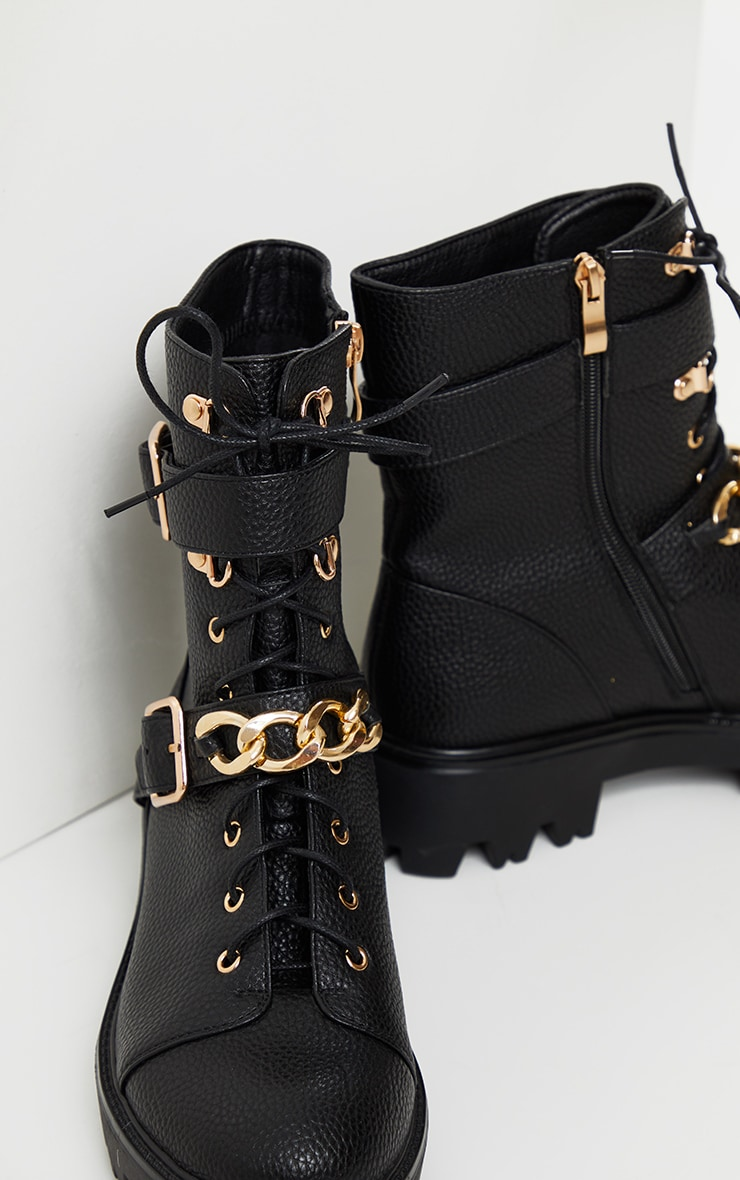 Black Buckle Chain Trim Lace Up Hiker Boot 3