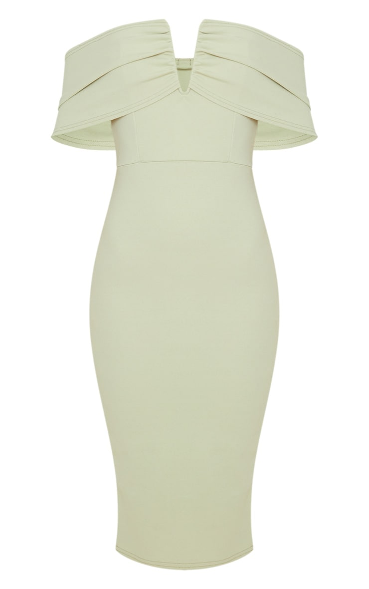 Sage Green V Bar Bardot Midi Dress 3
