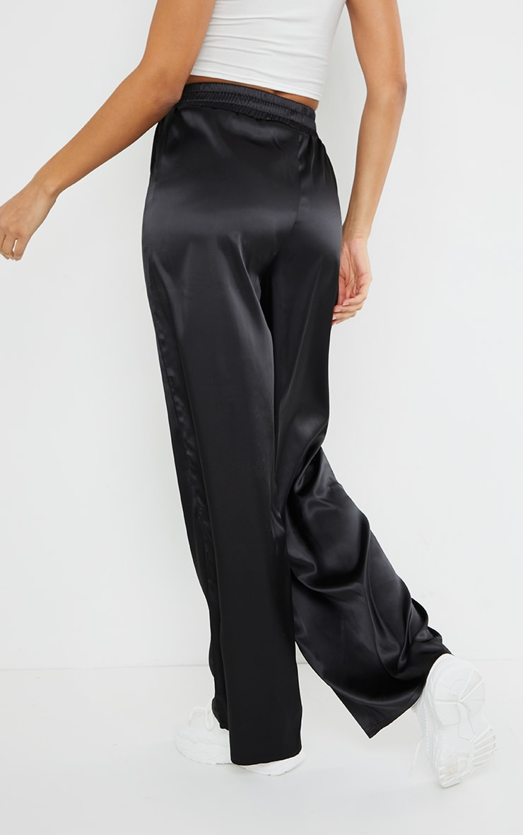 PRETTYLITTLETHING Black Badge Satin Wide Leg Trousers 3