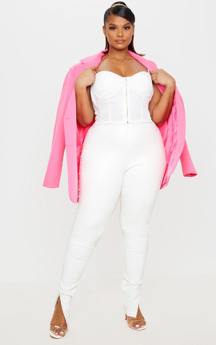 Plus Cream PU Split Hem Skinny Trousers 1