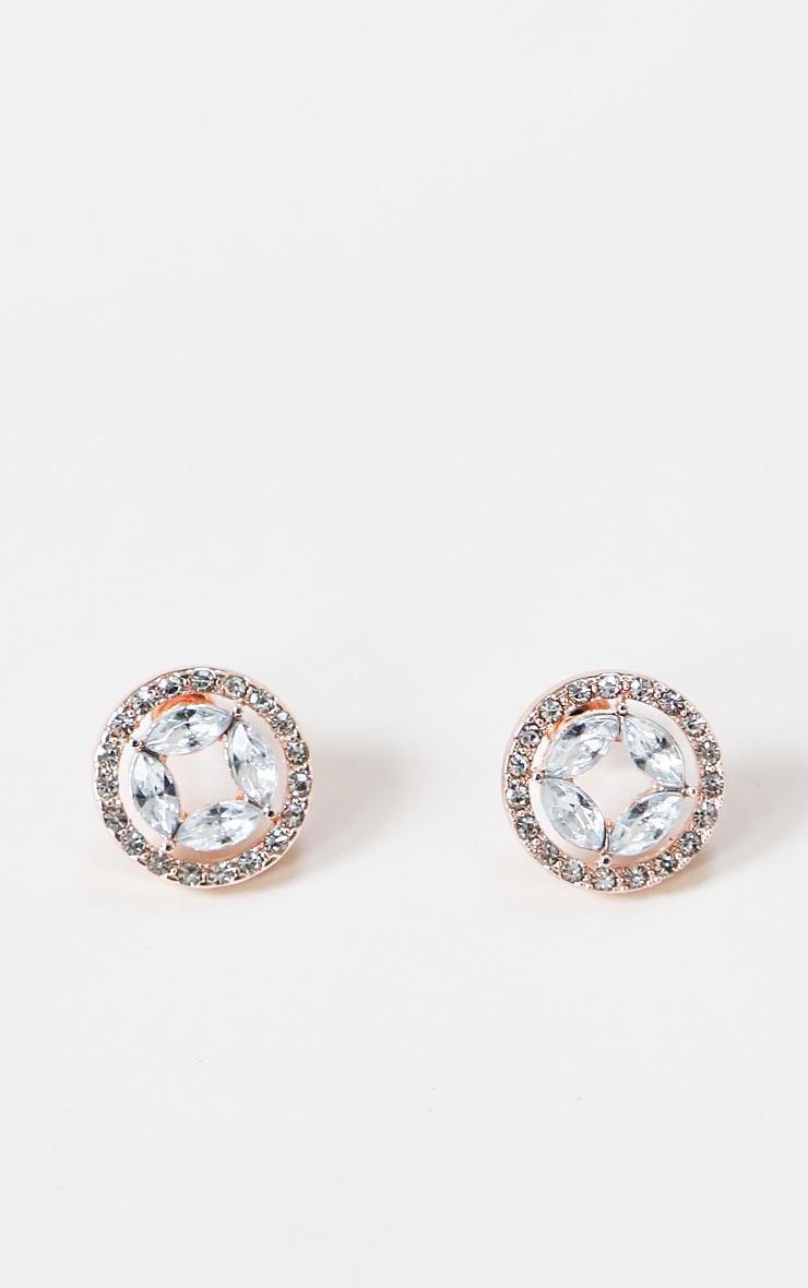 Gold Circular Diamante Small Stud Earring 1