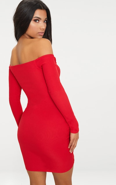 Red Ribbed Long Sleeve Bardot Ruched Bodycon Dress