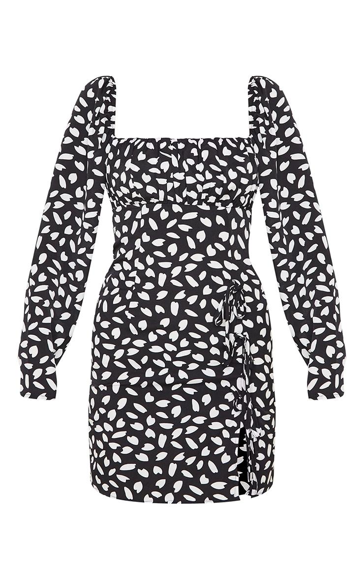 Black Dalmatian Print Bow Detail Side Split Bodycon Dress 3