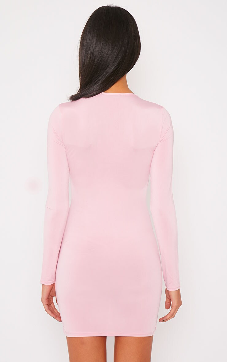 Tamika Pink Slinky Plunge Mini Dress 2