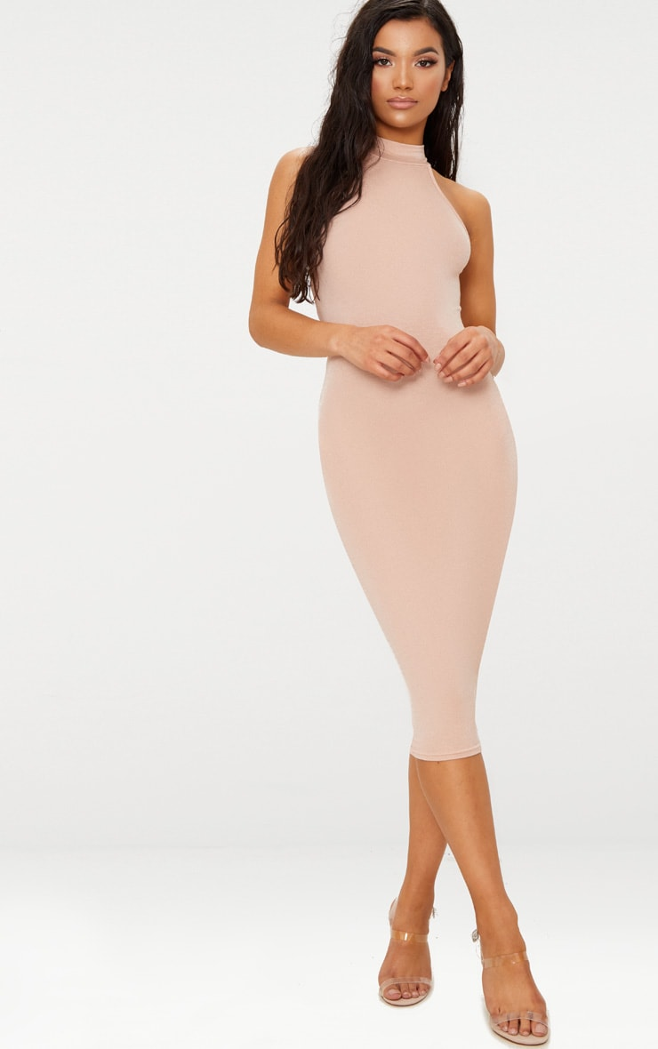 Nude High Neck Midi Dress 1