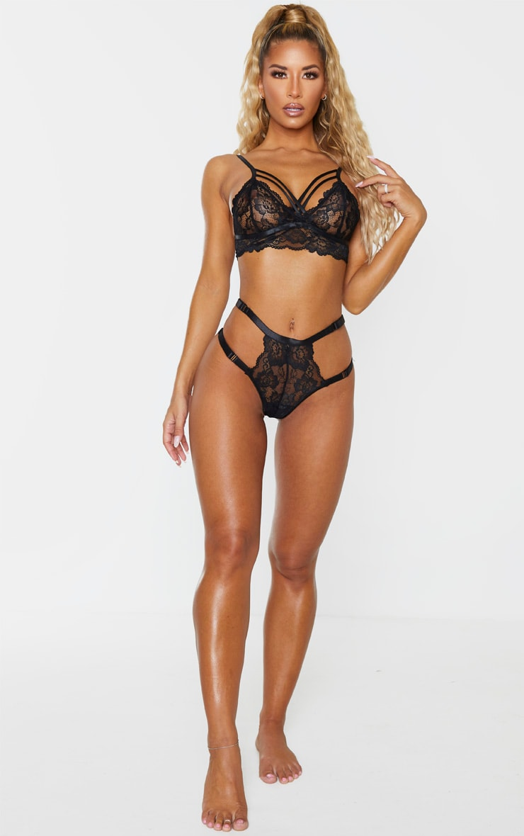 Black All Over Lace Harness Bralette 4