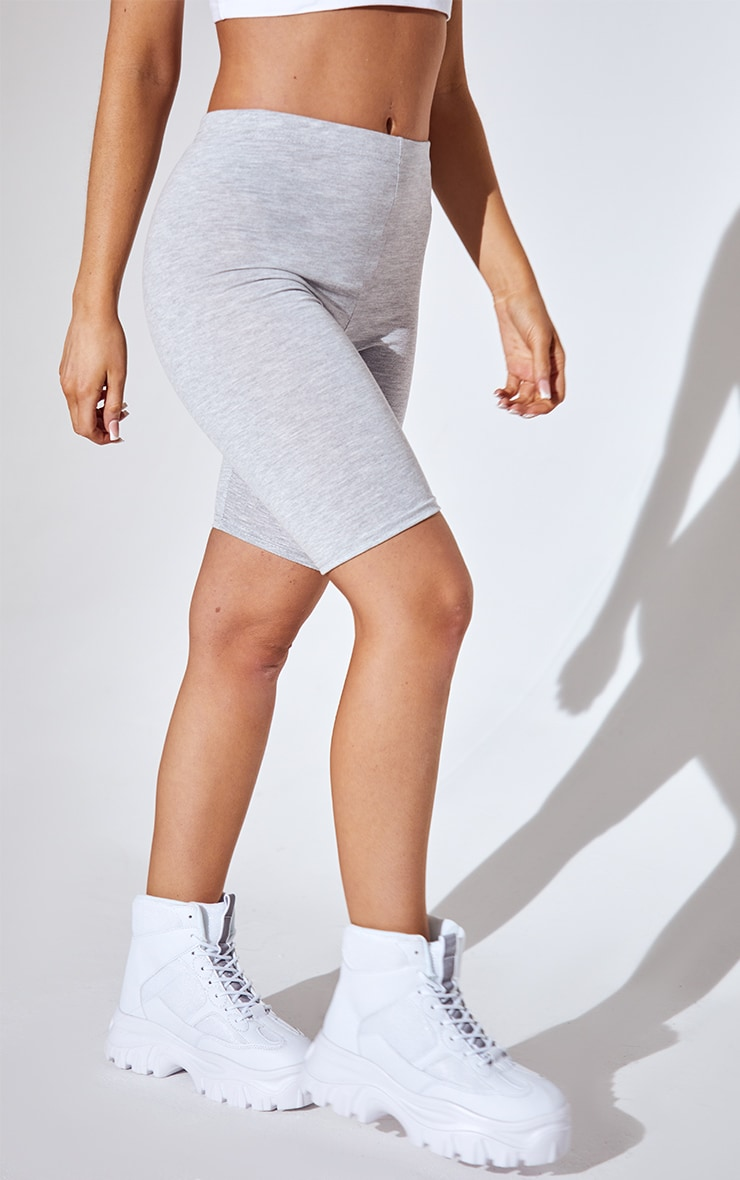 Basic Grey Cotton Blend Bike Shorts 2