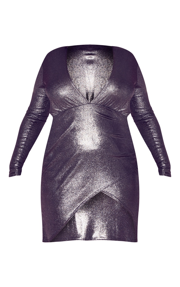 Plus Silver Metallic Wrap Detail Bodycon Dress  3