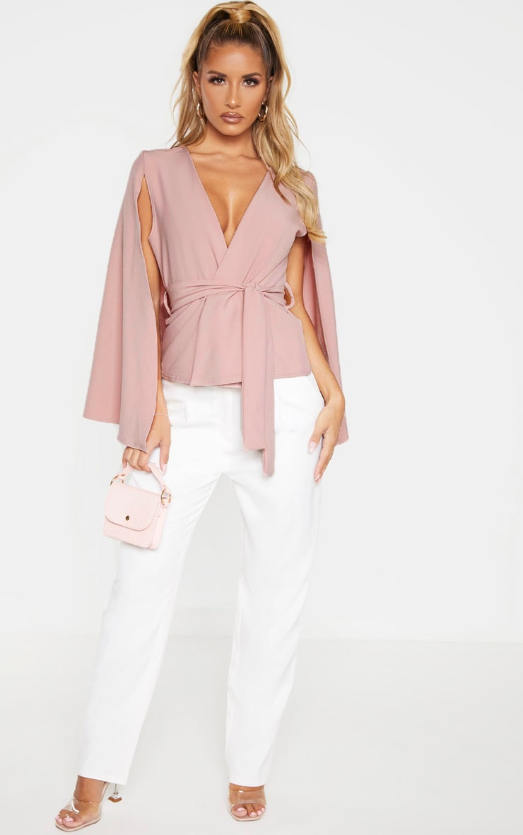 Dusty Pink Crepe Belted Cape Blazer 3