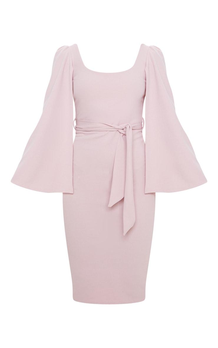 Dusty Lilac Cape Sleeve Tie Waist Midi Dress 3