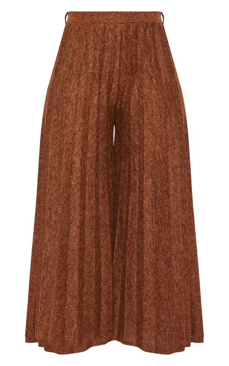 Brown High Waisted Pleated Culotte 3