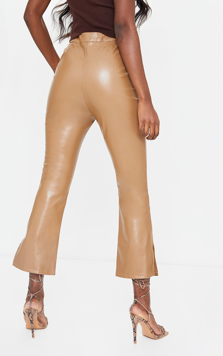 Tall Tan Faux Leather Cropped Split Hem Kick Flare 3