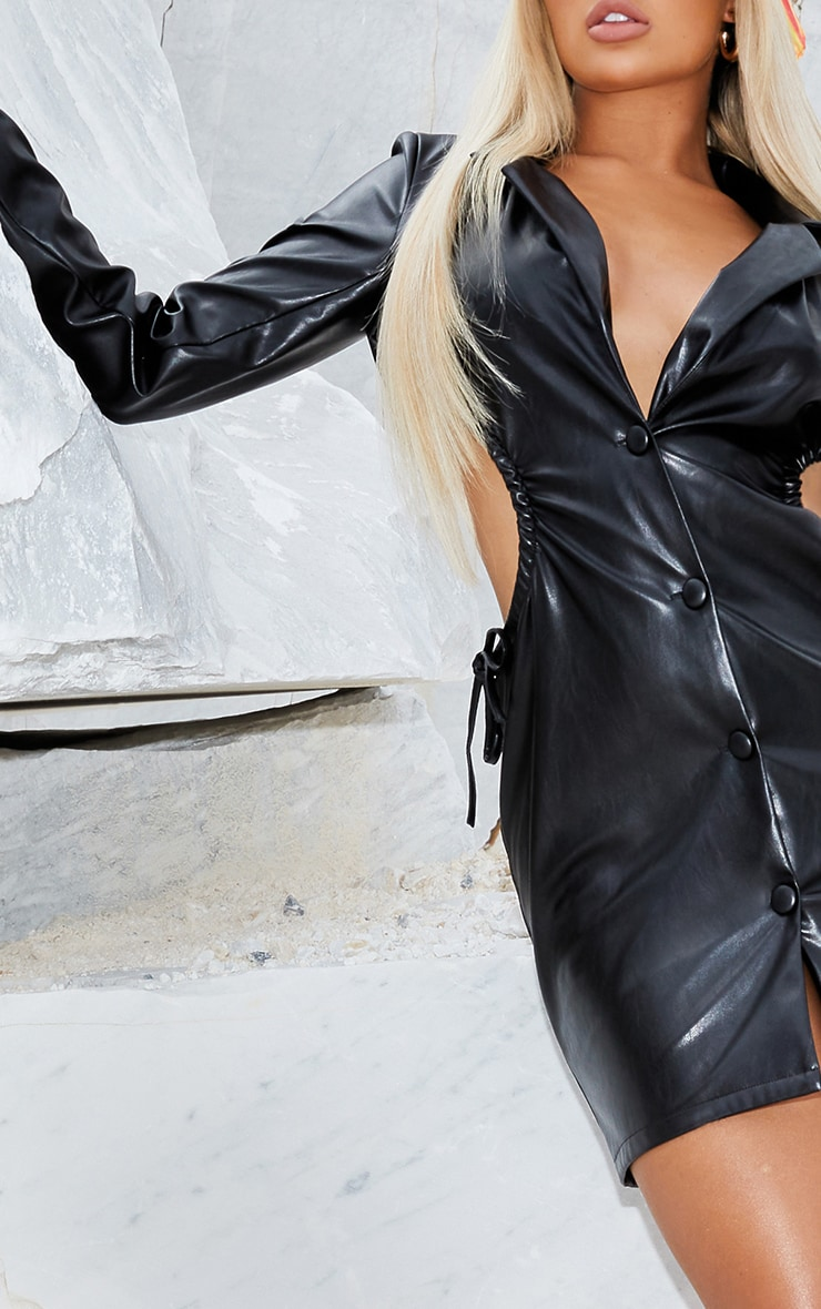 Black PU Cut Out Waist Button Down Blazer Dress 4