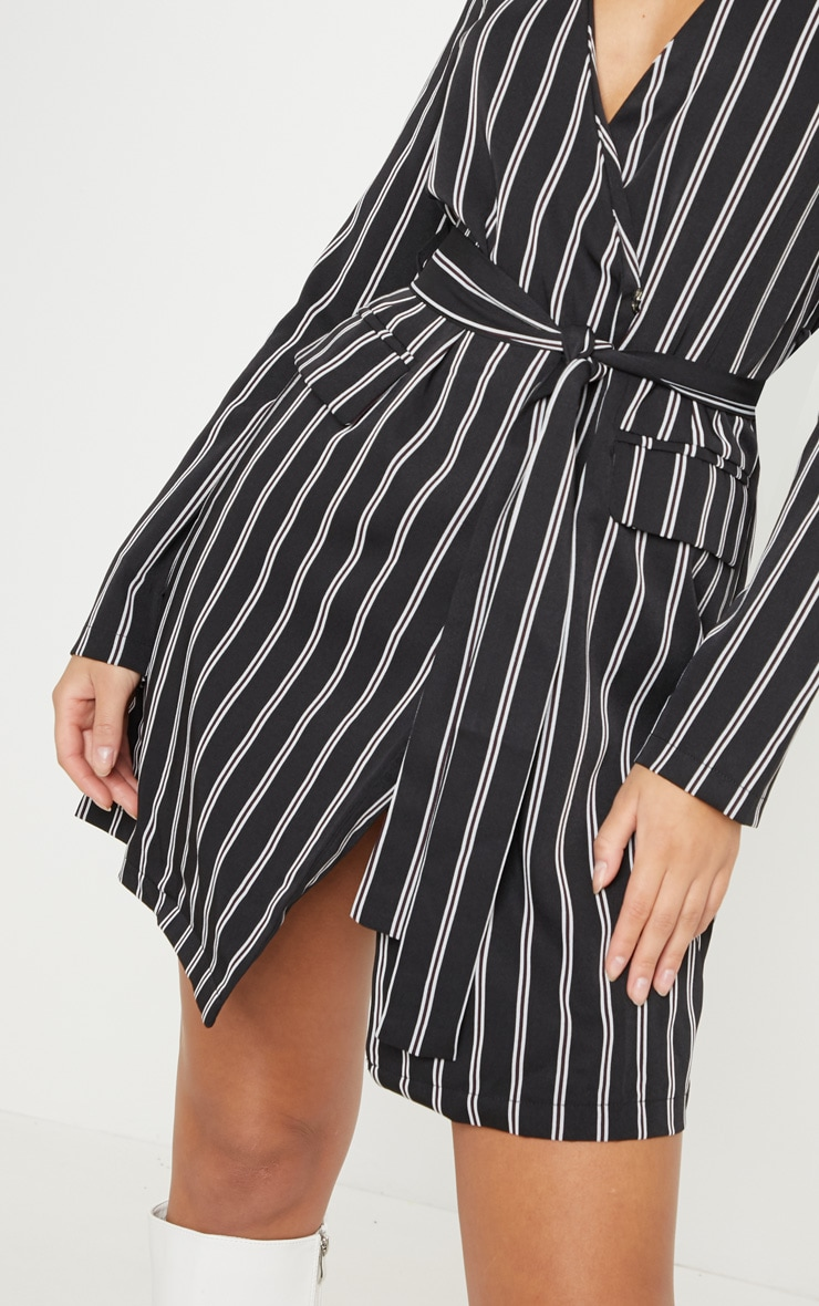 Black Belted Stripe Blazer Dress  5
