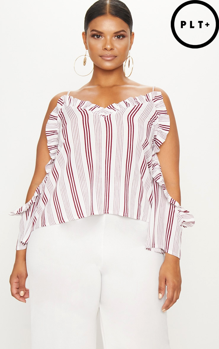 Plus White Striped Cold Shoulder Floaty Top