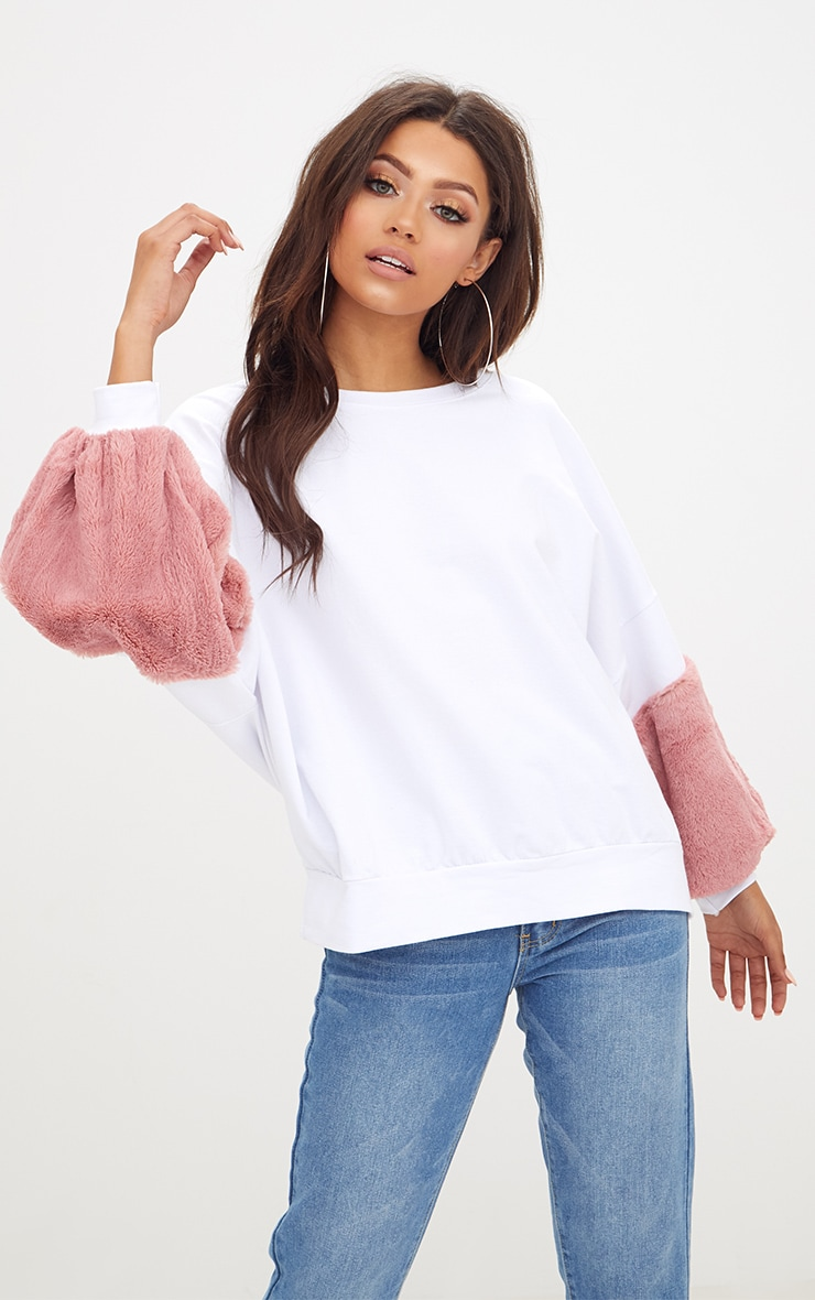 White Faux Fur Sweater 1