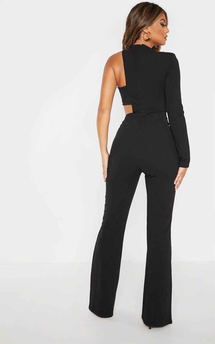Black One Shoulder Flare Leg Jumpsuit 2