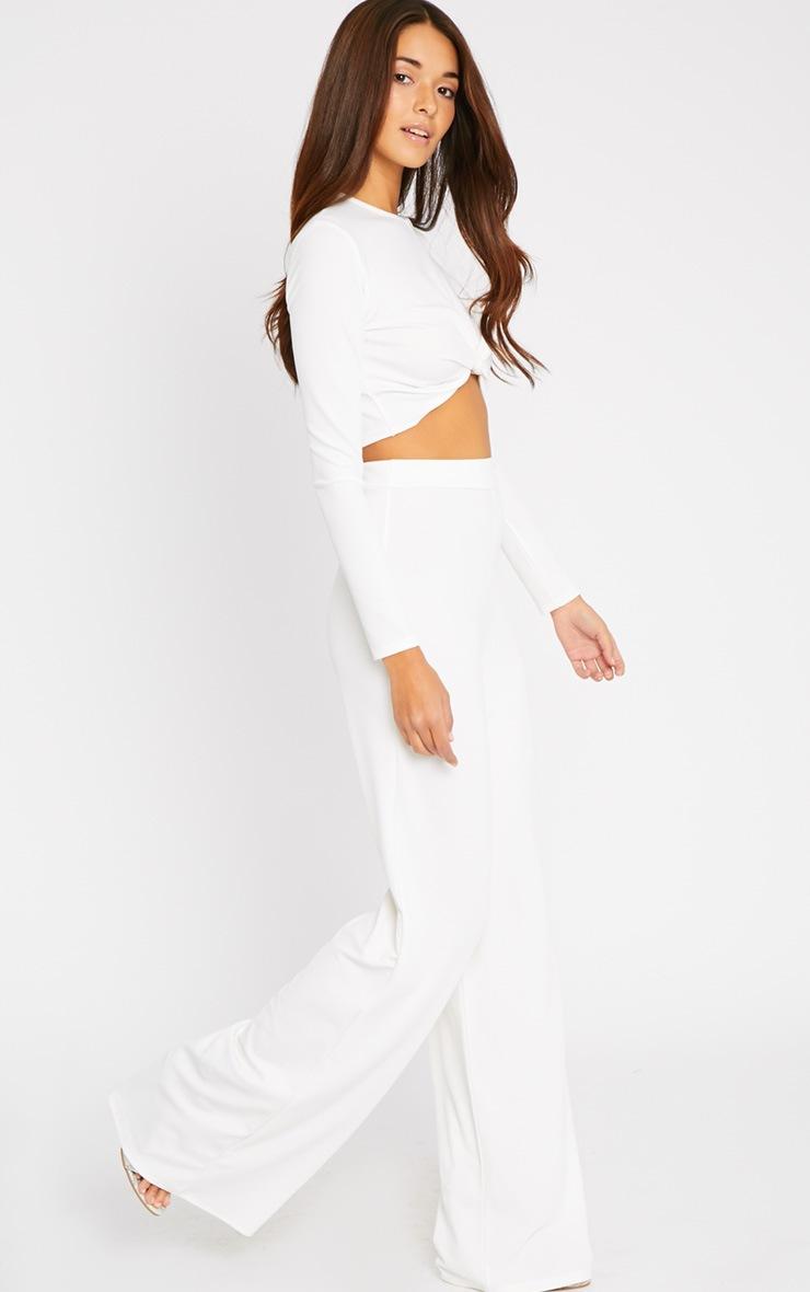 Zafia Cream Crepe Palazzo Trousers 5