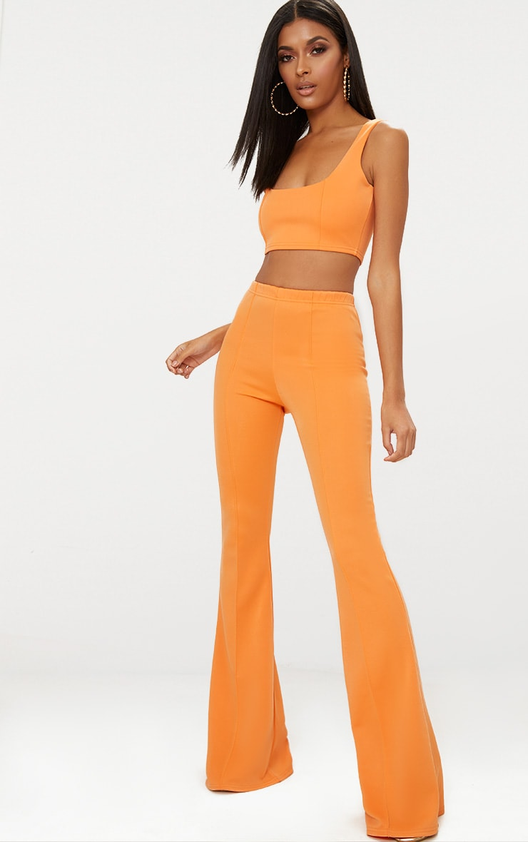 Tangerine Square Neck Zip Back Crop Top 4